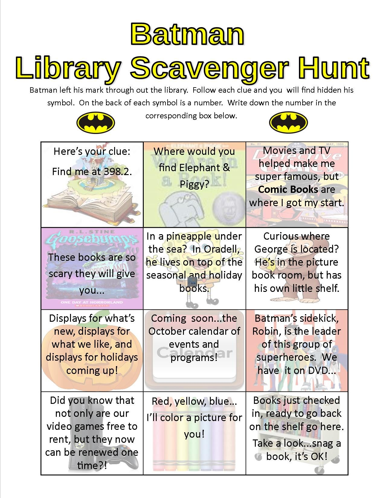 Batman Library Scavenger Hunt At The Oradell Free Public