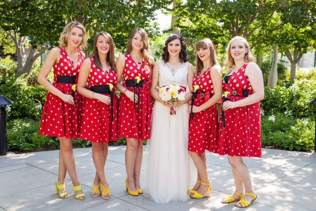Minnie Mouse would approve of these beautifully dotted bridesmaid ...