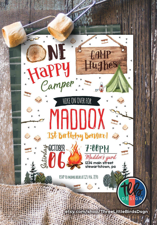 One Happy Camper First Birthday Invitation Bonfire Invite Smores Camping Fall