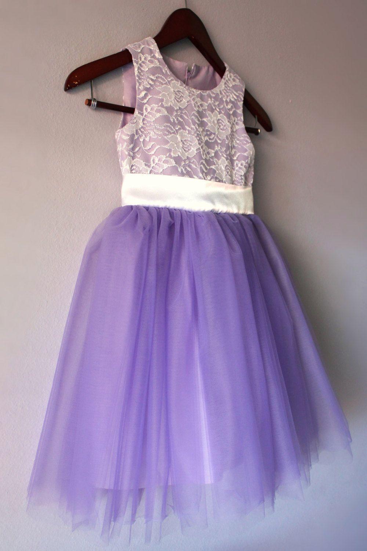 Flower girl lace tutu dress lavender purple by