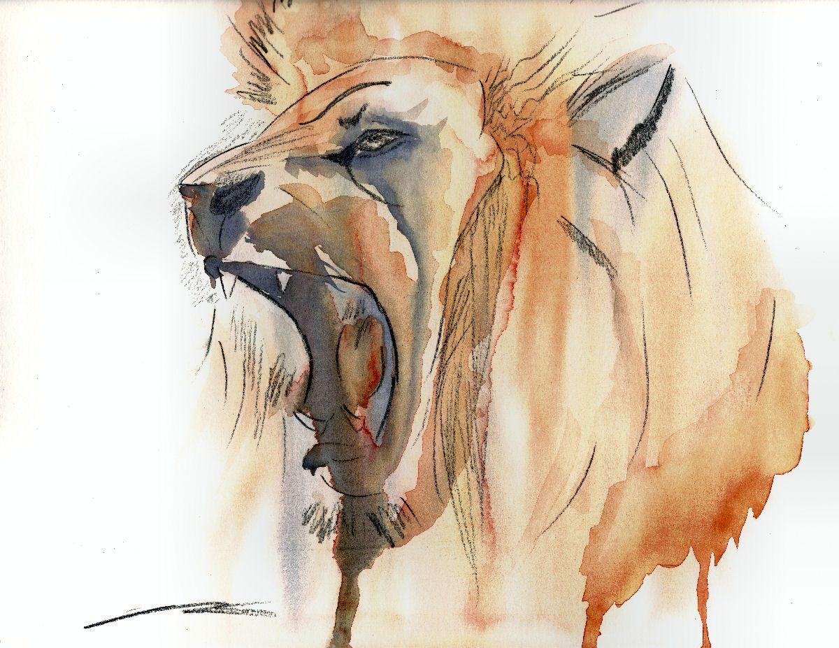 roar watercolor and watercolor pencil