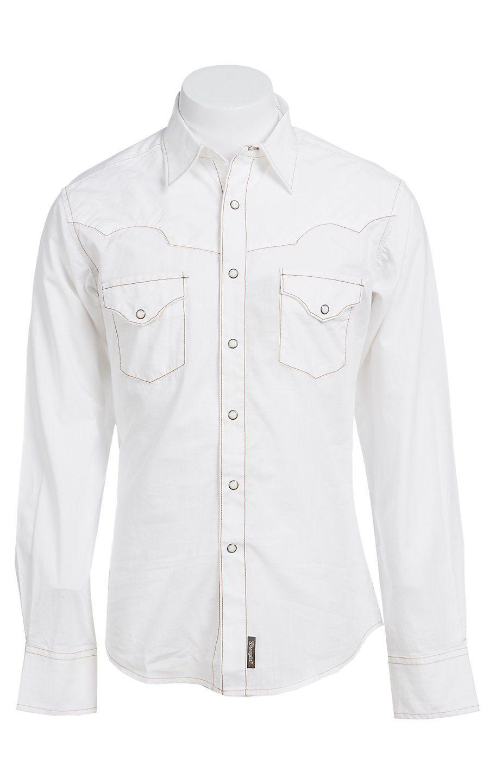 1b57ea9b42386 Wrangler Men s Retro Snap White Western Shirt MVR183W