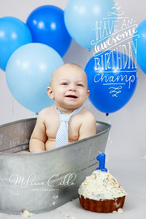 1st birthday boy cake smash photography blues bathtub