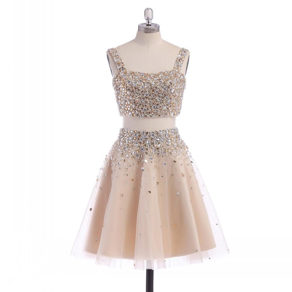 Two piece aline short tulle prom dress with rhinestone jewels