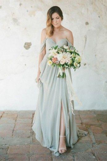 Slip Long Chiffon Off-shoulder A-line bridesmaid Dress with Sweetheart Neckline…