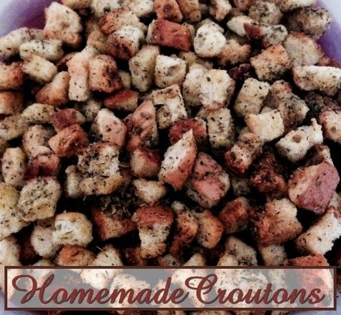 Homemade Croutons http://www.momspantrykitchen.com/homemade-croutons.html