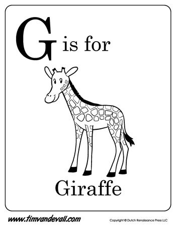 G is for Giraffe | Letter G Coloring Page | Preschool ...