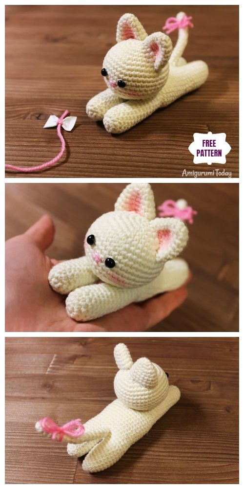 Crochet Lying Kittens Amigurumi Free Patterns #crochettoysanddolls