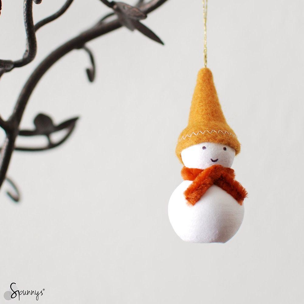 Christmas homemade snowman ornaments DIY tutorial | Spun cotton ...