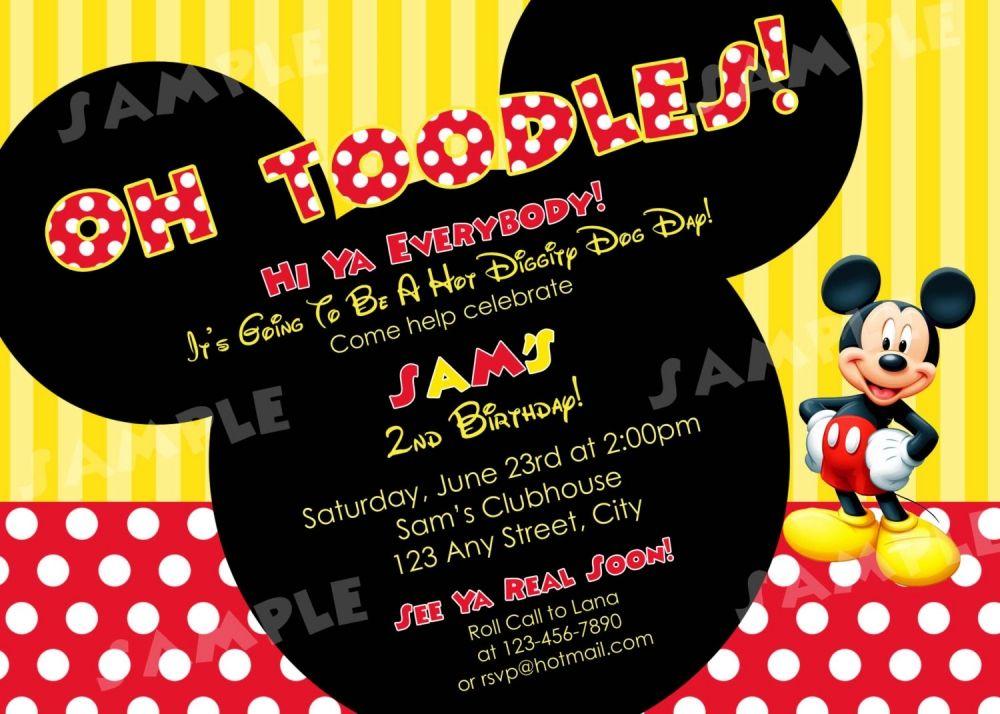 2nd Birthday Invitation Wording Mickey
