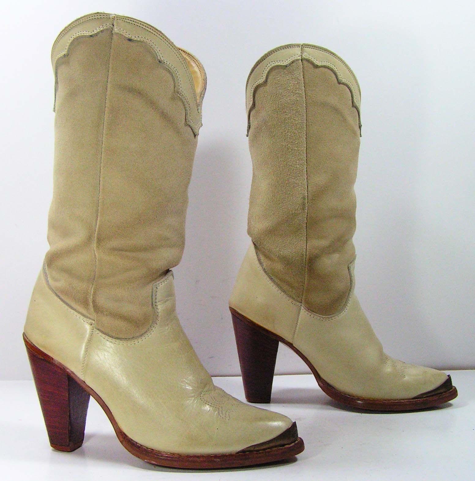 eb7c81b3e4f zodiac cowboy boots womens 5.5 M bone leather suede western antique ...
