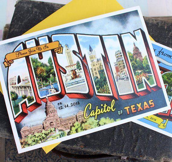 Vintage Travel Postcard Wedding Invitation Austin Texas