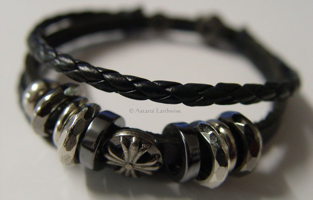 MENS LEATHER BRACELET Wicca Witch Pagan Goth BLACK HEMATITE WRISTBAND