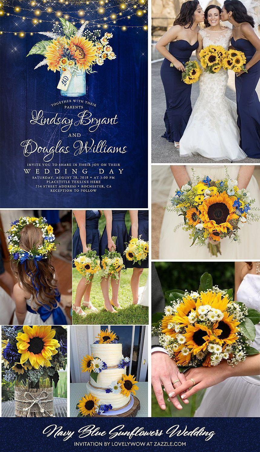 Navy Blue Sunflower Rustic Wedding Invitations Zazzle