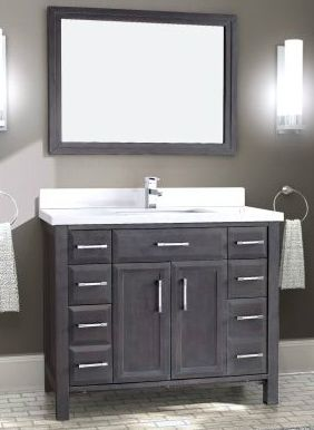 42 Inch Bathroom Vanity In French Gray Finish Contemporary