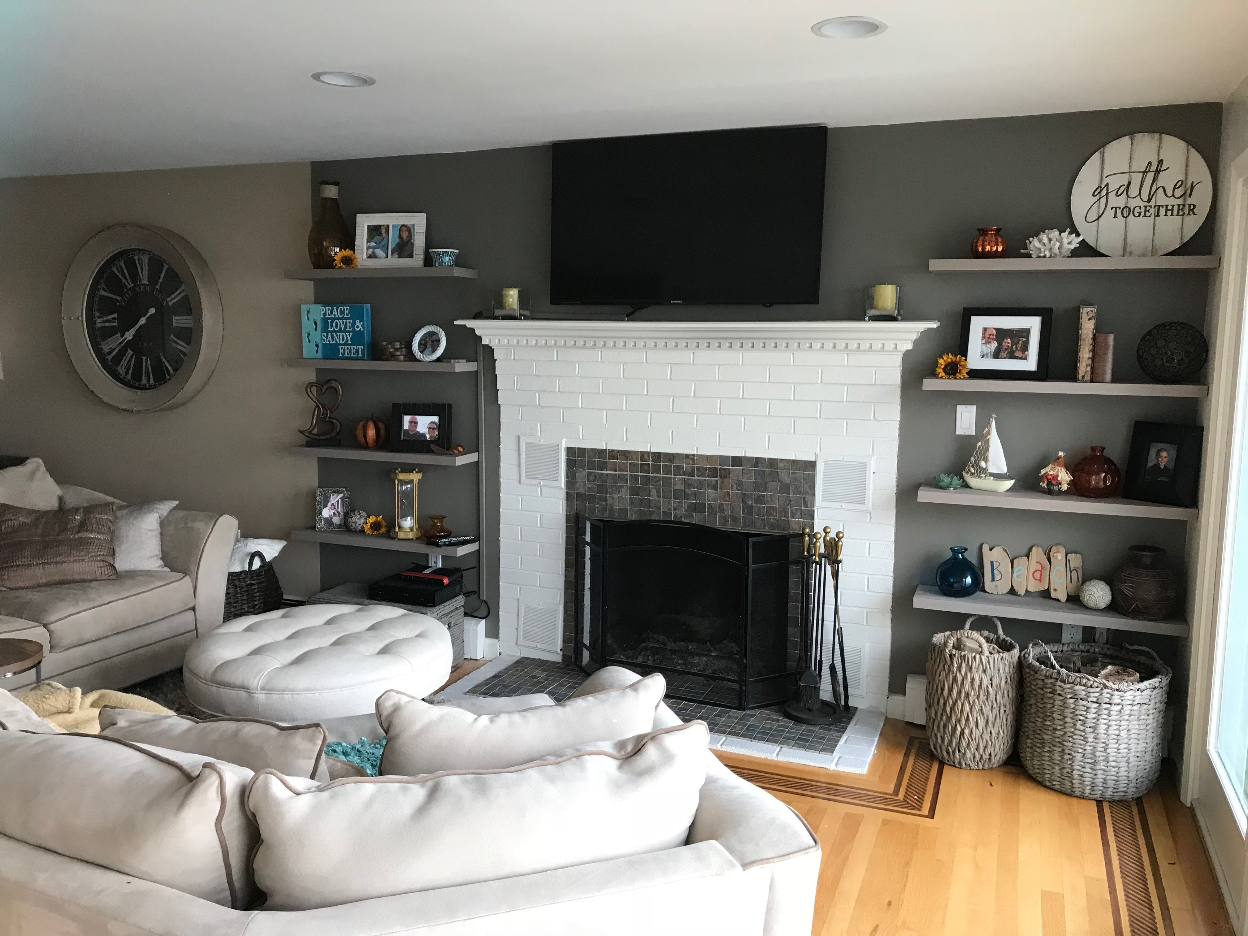 Floating Shelves Next To Fire Place Paint Color Anony