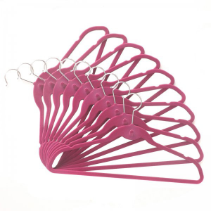 100 Pack ClutterFREE Cascade Hangers (Bubble Gum) (9.5H x 19.25W x .25D). The bubble gum pink ClutterFREE Cascade Hangers combine an ultra narrow design with a built-in cascade hook for the ultimate in space-friendly closet hangers! Made of metal with a velvety flock surface, these non slip hangers keep garments on the rod where they belong and off the floor. The durable, flexible design of these slim hangers allows them to support even heavy items like coats and jackets. The smooth, gentle…