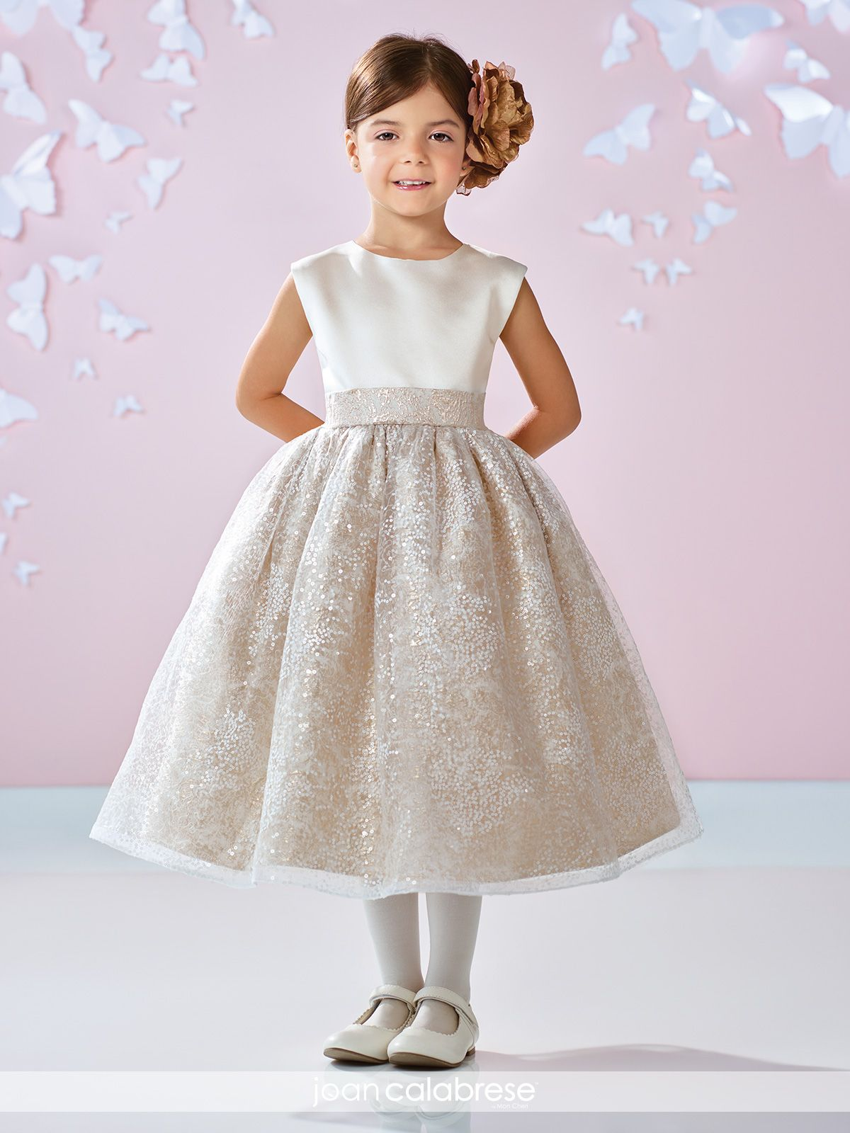 Satin Sequined A-Line First Communion Flower Girl Dress- 117351 ... f71095231ab1