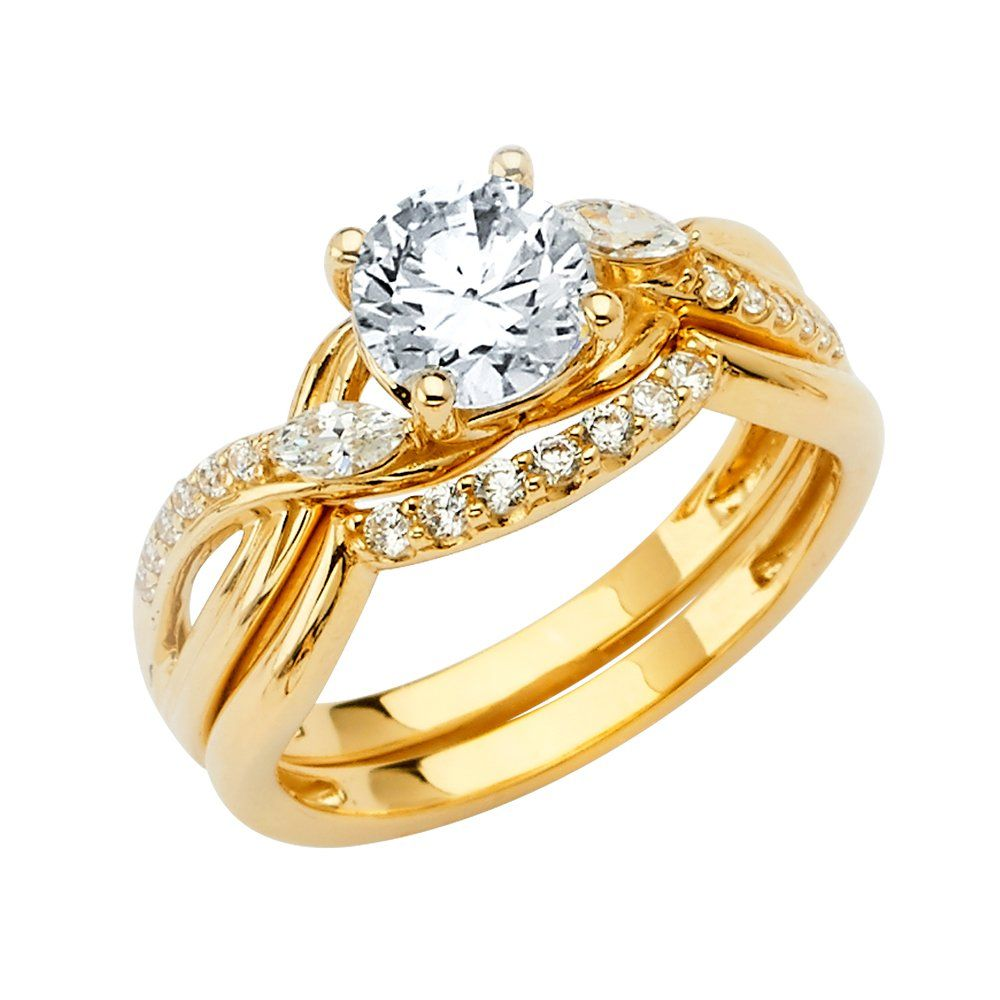 Wellingsale Ladies 14k Yellow Gold Cz Cubic Zirconia Engagement Ring Wedding Band Bridal In 2020 With Images Wedding Ring Bands Bridal Ring Sets Cubic Zirconia Engagement Rings