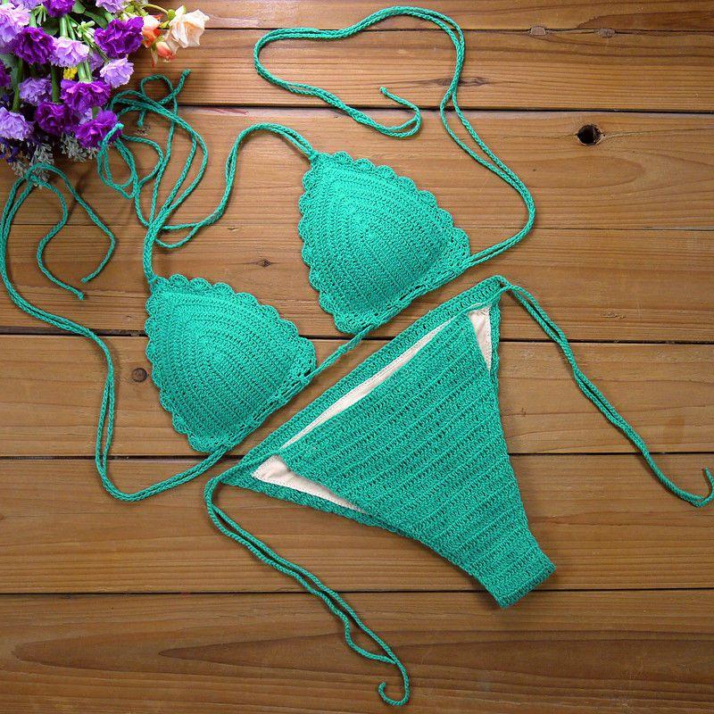 Cotton crochet bikini sexy summer swimwear handmade bikini fashion set  #Handmade #Bikini
