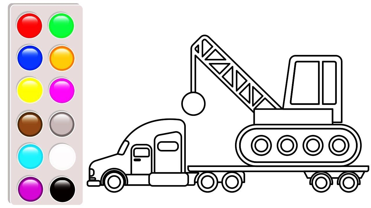 Crane Truck And Container Coloring Pages Construction Vehicles Coloring Coloring Pages For Kids Cars Coloring Pages Coloring Pages