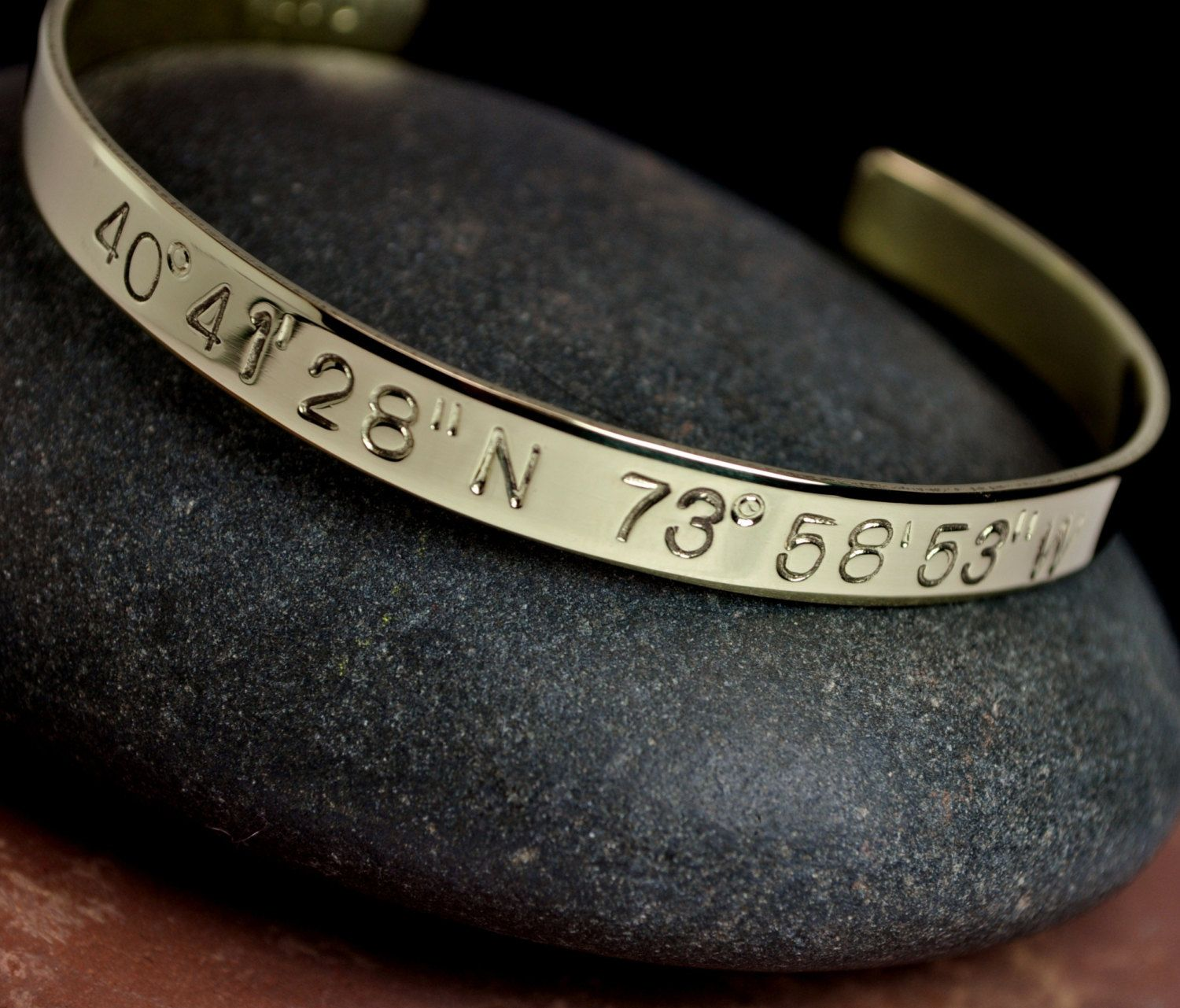 latitude lat pin bracelet away and longitude gift cuff personalized going by tatumbradleyco long