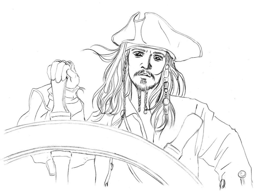 5 Pirates Pages Coloring Caribbean