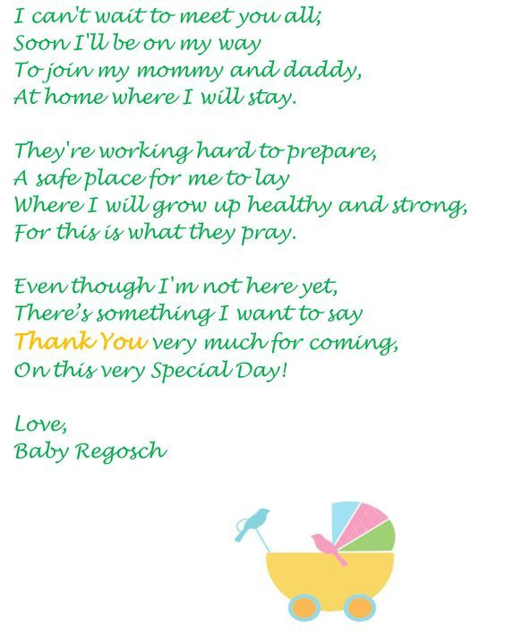 Thank You Note From Baby: Baby PoemsBaby Shower ...