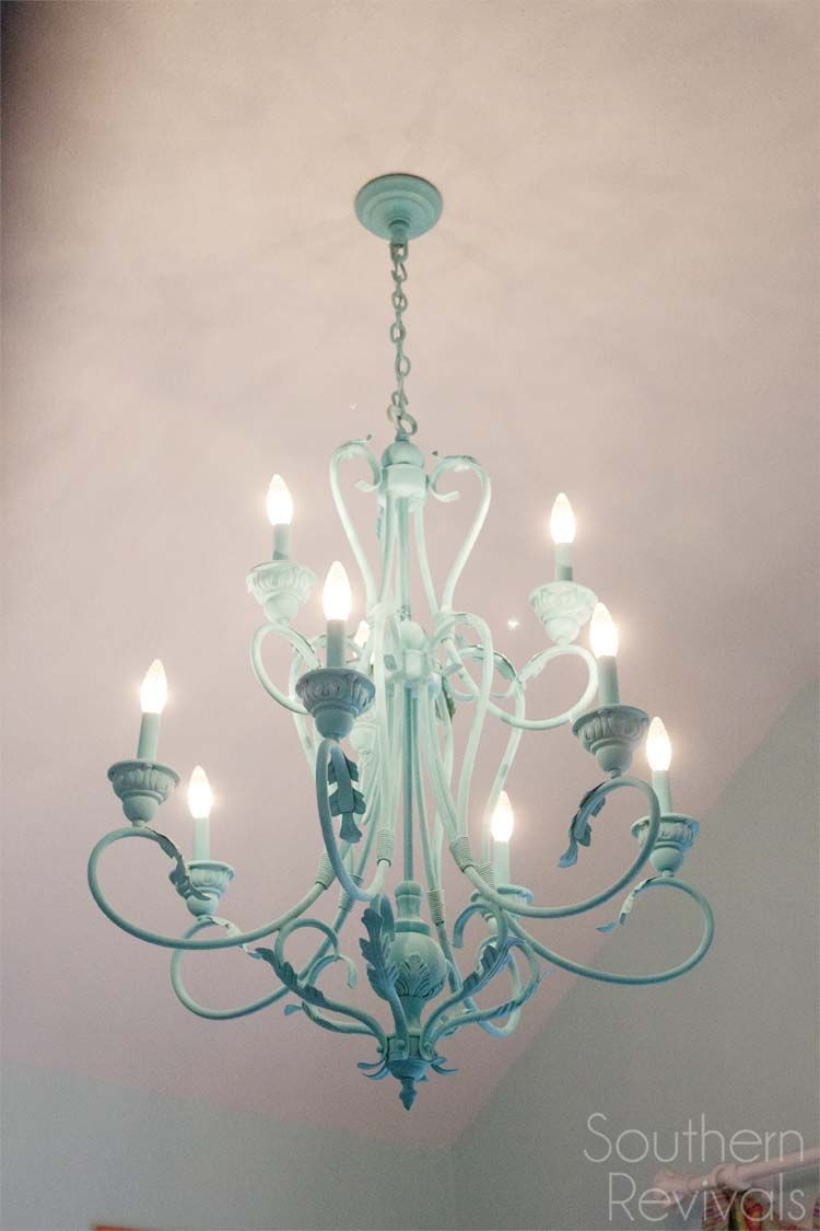 Hand Painted Chandelier Makeover Southern Revivals Chandelier Makeover Painted Chandelier Diy Chandelier