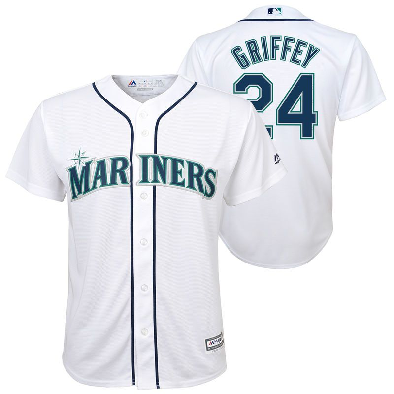 dd51b03b1 Ken Griffey Jr. Seattle Mariners Majestic Youth Home Official Cool Base  Player Jersey – White