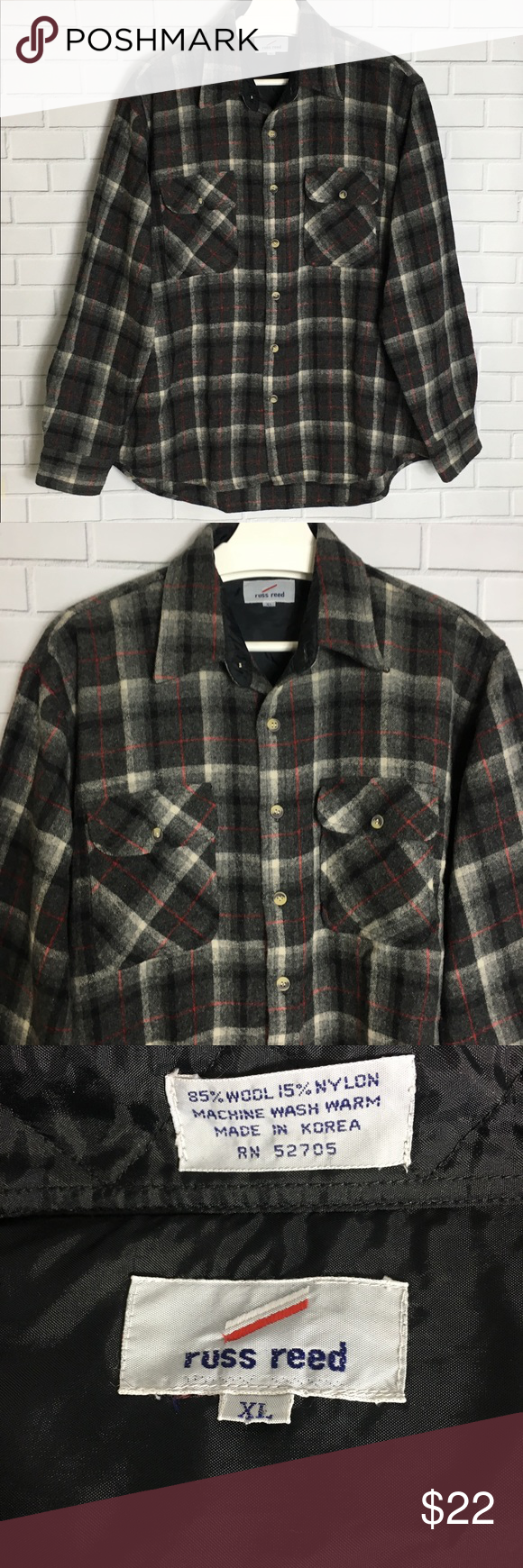 Reed Wool Blend Button Down Plaid Flannel Shirt Russ Reed