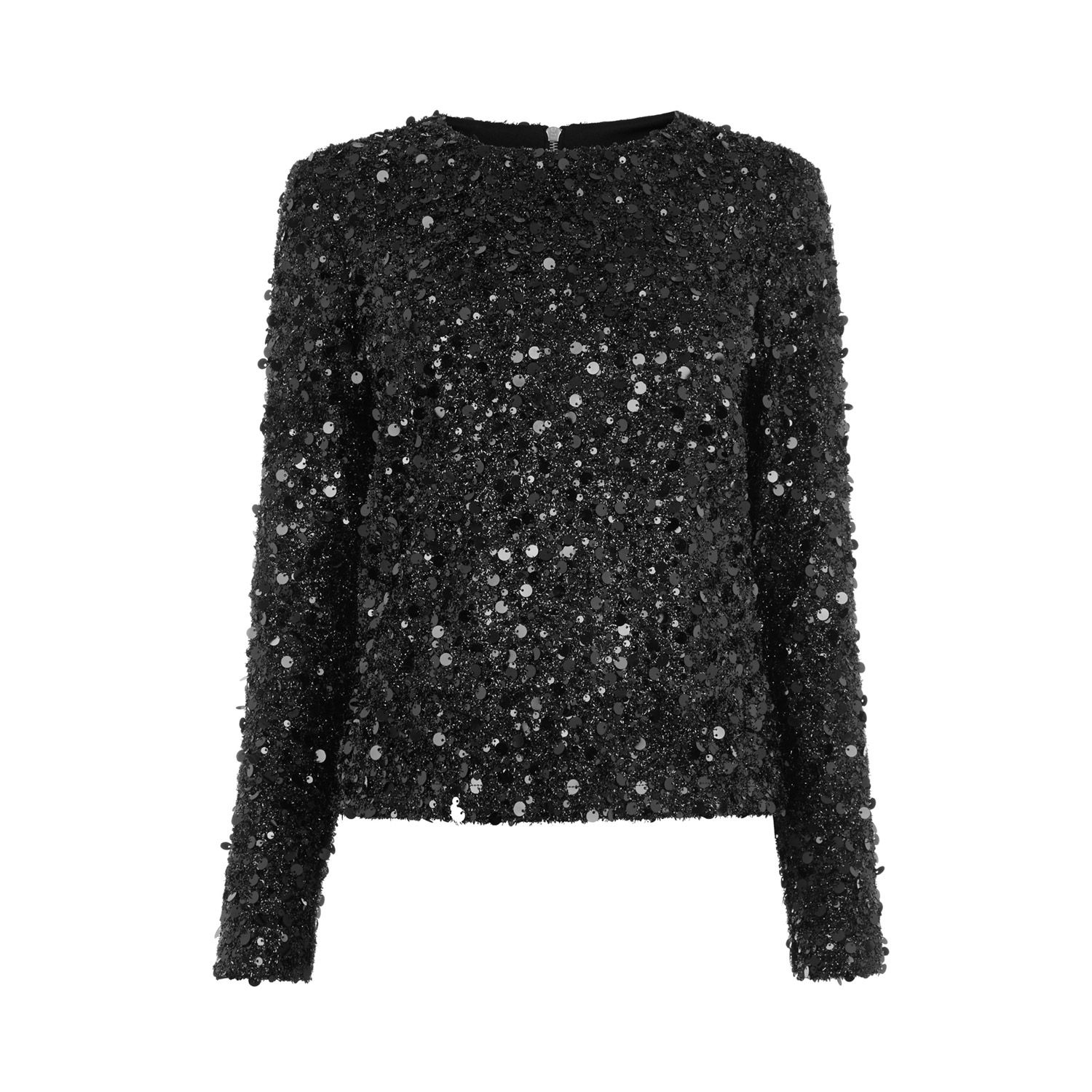 Warehouse, LONG SLEEVE SEQUIN TOP Black 0 | What I Wish I Were ...