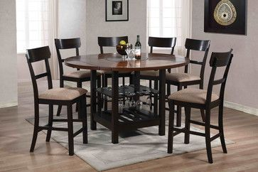 7 PC Walnut Wood Round Counter Dining Set Storage Chairs Fabric Seat - contemporary - Dining Sets - Los Angeles - furniturecheck.com