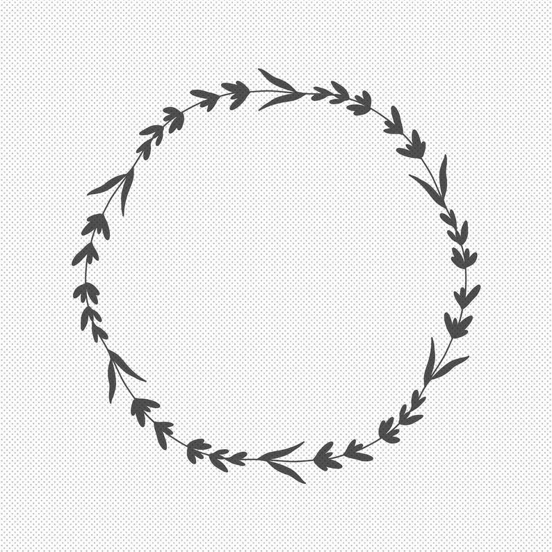 Floral Laurel Wreath Svg Files Flower Border Svg Circle Etsy In 2021 Monogram Frame Floral Wreaths Illustration Circle Monogram