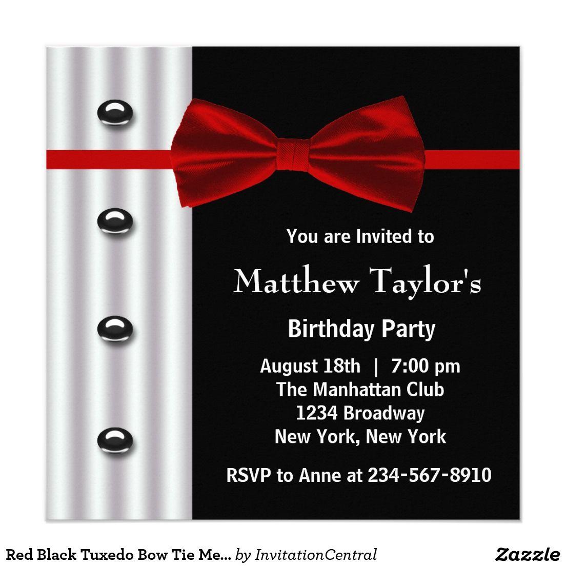 Red Black Tuxedo Bow Tie Mens Birthday Party Invitation | Pinterest ...