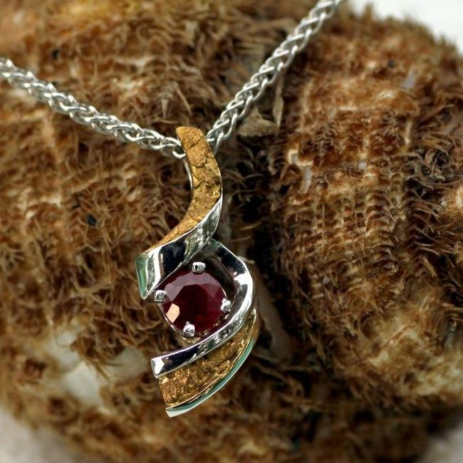 gold nugget jewelry Alaskan Gold Nugget and Gemstone Pendant