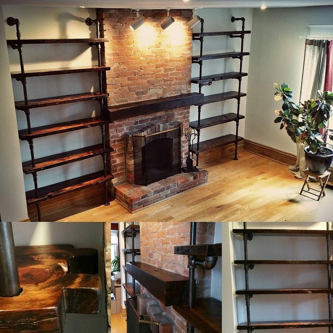 Fireplace shelving living room pinterest shelving for Rustic industrial