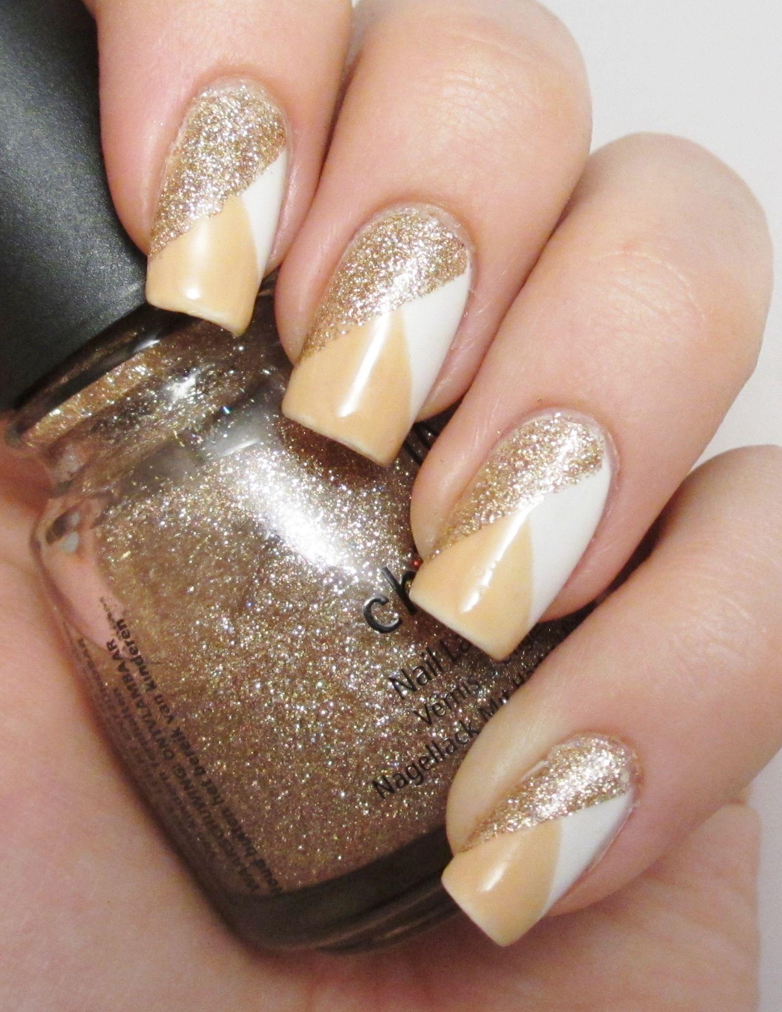 Nail art tape design. H&M white nail polish, Rimmel - Lets get nude ...