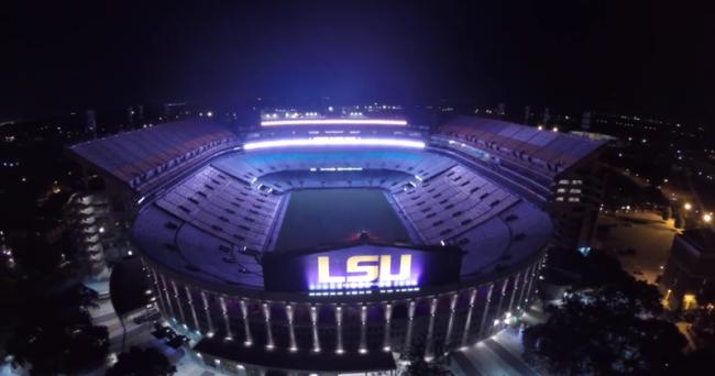 Video Lsu S Tiger Stadium Lights Up The Purple Night Lsu Football Lsu Lsu Tiger Stadium