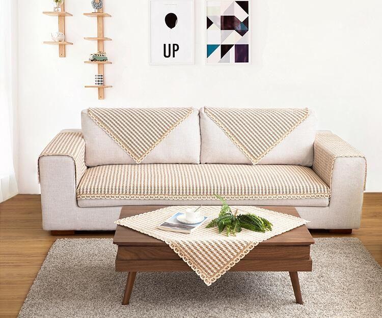 Charmant 110cm Width Cotton Sofa Towel Coffee Plaid Sectinal Sofa Cover Anti Slip  Single Seat