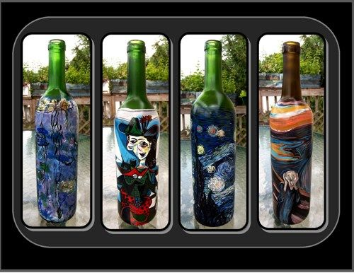 Masterpiece,Wine Bottles,painted wine bottle,wine,art,house warming, | ArtisticCreationsbyRose - Reproduction on ArtFire