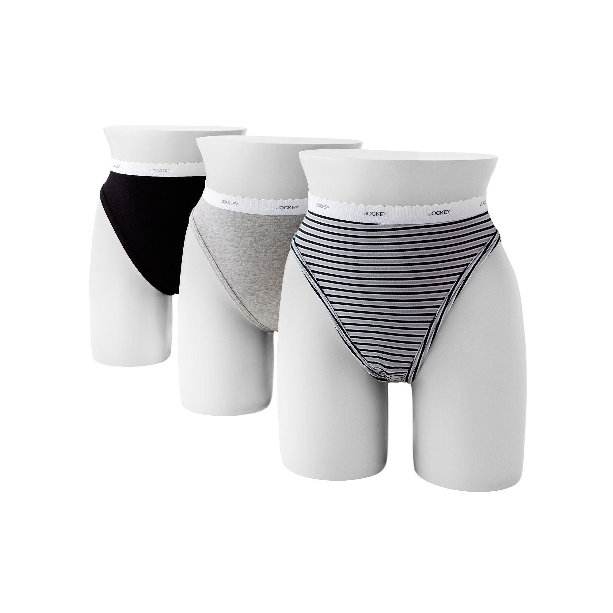 3b19afbbed8f Jockey Classics 3-pk. French Hi-Cut Panties 9481, Women's, Size: 10, Grey