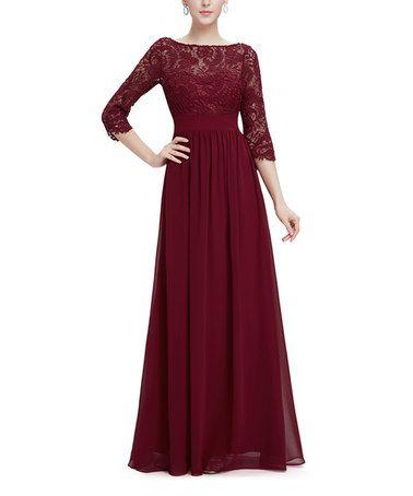 Look at this #zulilyfind! Burgundy Lace Three-Quarter Sleeve Gown #zulilyfinds