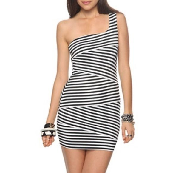 One Shoulder Striped Mini Dress Black And White Striped Very