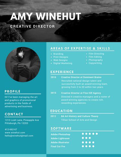 Blue Simple Image Photo Resume  Graphic Design