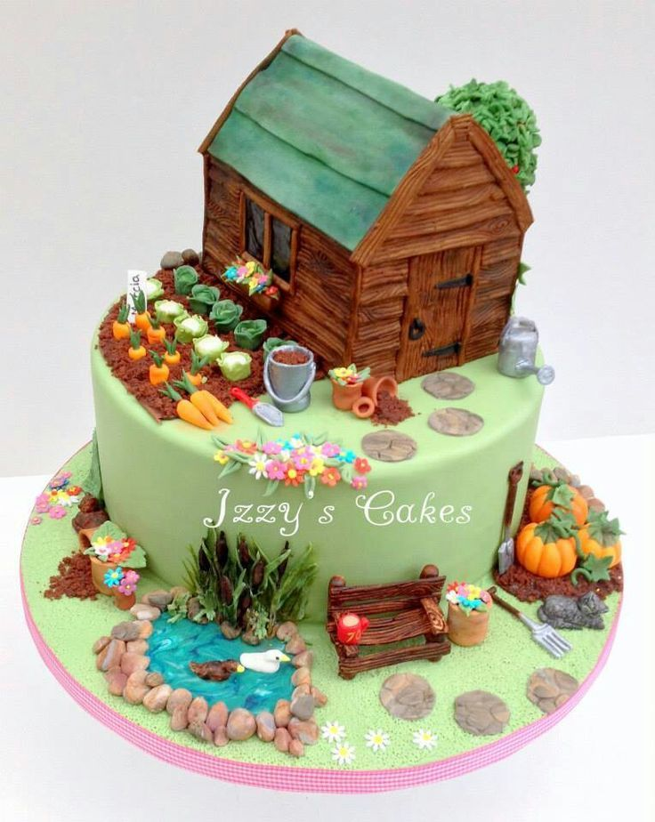 gardening cake decorated cakes - Garden Design Birthday Cake