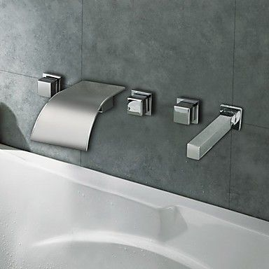 Chrome Finish Curve Wasserfall Badezimmer Badewanne Wasserhahn ... | {Badewannen armaturen wasserfall 86}