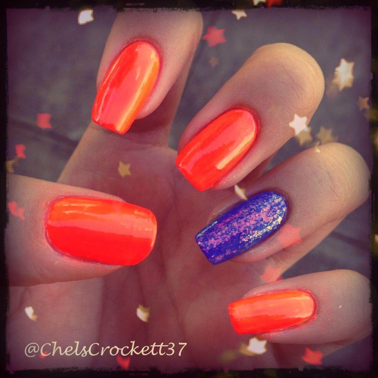 Neon orange and blue   Denver Broncos Nails   Pinterest   Blue nails ...