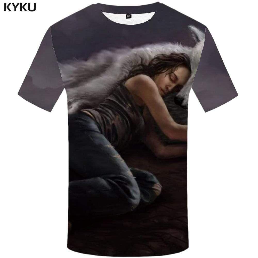 Photo of Wolf T shirt Men Animal T shirts Funny Angry Tshirts Print Gray Tshirt Anime T-shirt 3d Mens Clothing Graphic Unisex Printed – 5XL