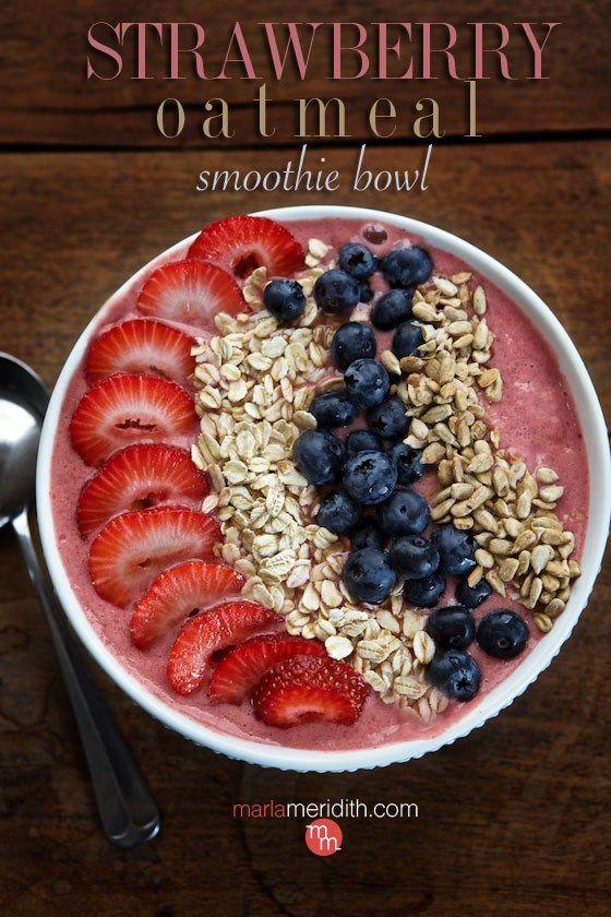 Strawberry Oatmeal Smoothie Bowl